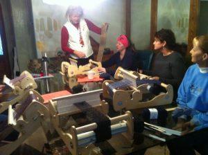 weaving an Alpaca scarf
